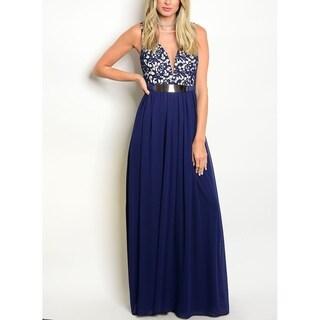 JED Women's Lace Sleeveless Empire Waist Long Evening Dress