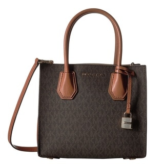 Michael Kors Mercer Brown Signature Crossbody Handbag