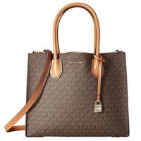 Michael Kors Mercer Large Convertible  Brown Signature Tote Bag