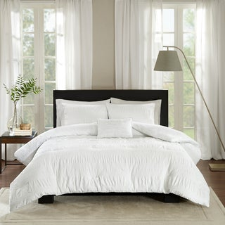 Madison Park Kate White Cotton Seersucker Duvet Cover Set (As Is Item)
