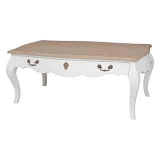 KD Pauline White Coffee Table with Natural Top