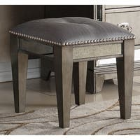 Highland Ave Grey Glam Vanity Bench