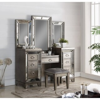 Highland Ave Glam Pewter Finish Wood Complete Vanity with Triple Mirrors