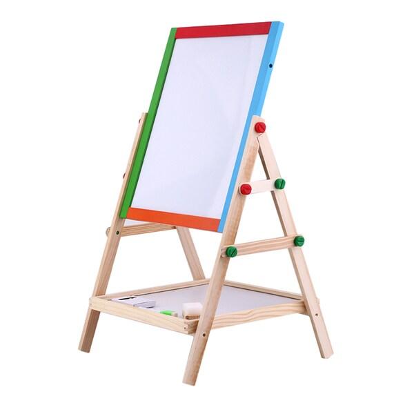 Creative Chalkboard Children Kid 2 In 1 Double Side Wooden Easel Chalk Board
