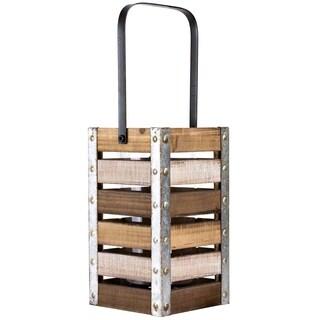"American Art Decor Vintage Wooden Crate 10"" Candle Holder Lantern"