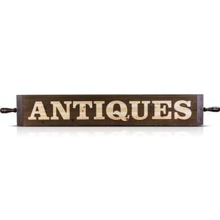 Vintage Antiques Framed Wood Famhouse Decor Sign