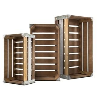 American Art Decor Rustic Wooden Storage Crates Farmhouse Decor