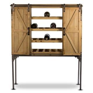 Rustic Wood Wine Rack Barn Door Glassware Cabinet Farmhouse Decor