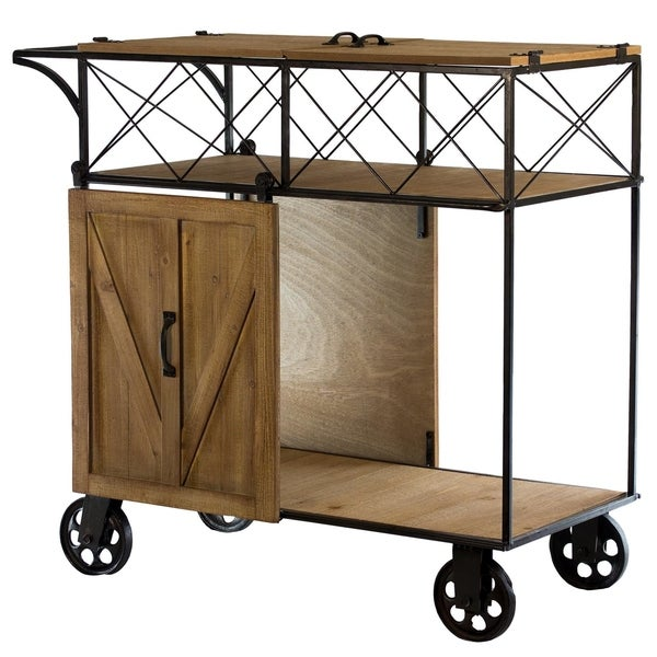 American Art Decor Farmhouse Wood/Metal Barn Door Rolling Bar Cart  sc 1 st  Overstock.com : cart door - Pezcame.Com