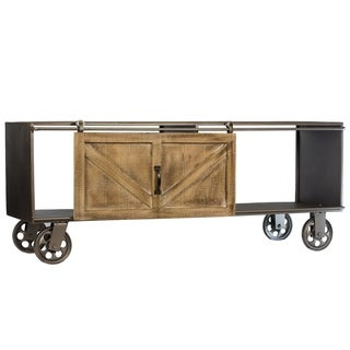 Wheeled Metal Storage Cabinet with Wood Barn Door Farmhouse Decor