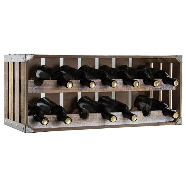 American Art Decor 14 Bottle Wine Rack Rustic Farmhouse Decor