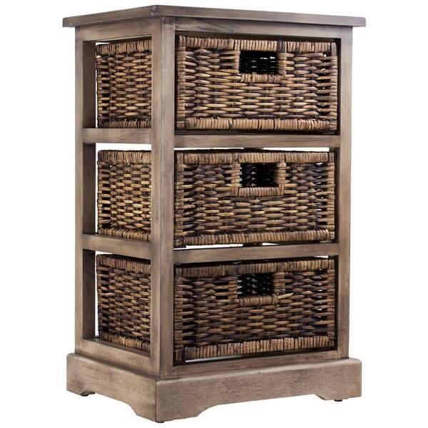 American Art Decor Wicker Basket 3 Drawer Nightstand