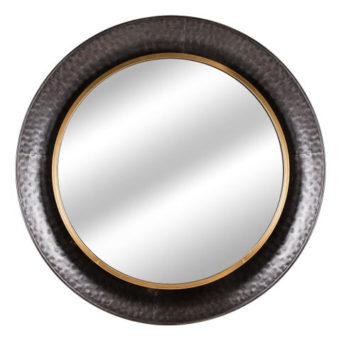 American Art Decor Round Gold Concave Silver Metal Wall Vanity Mirror - Antique Brown