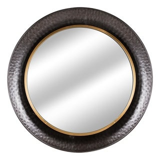 Round Gold Concave Silver Metal Framed Wall Vanitry Mirror - Antique Brown