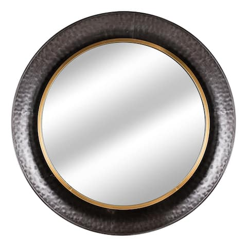 American Art Decor Round Gold Concave Silver Metal Wall Vanity Mirror - Antique Brown - A