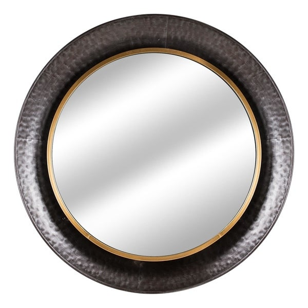 American Art Decor Round Gold Concave Silver Metal Wall Vanity Mirror - Antique Brown - A/N