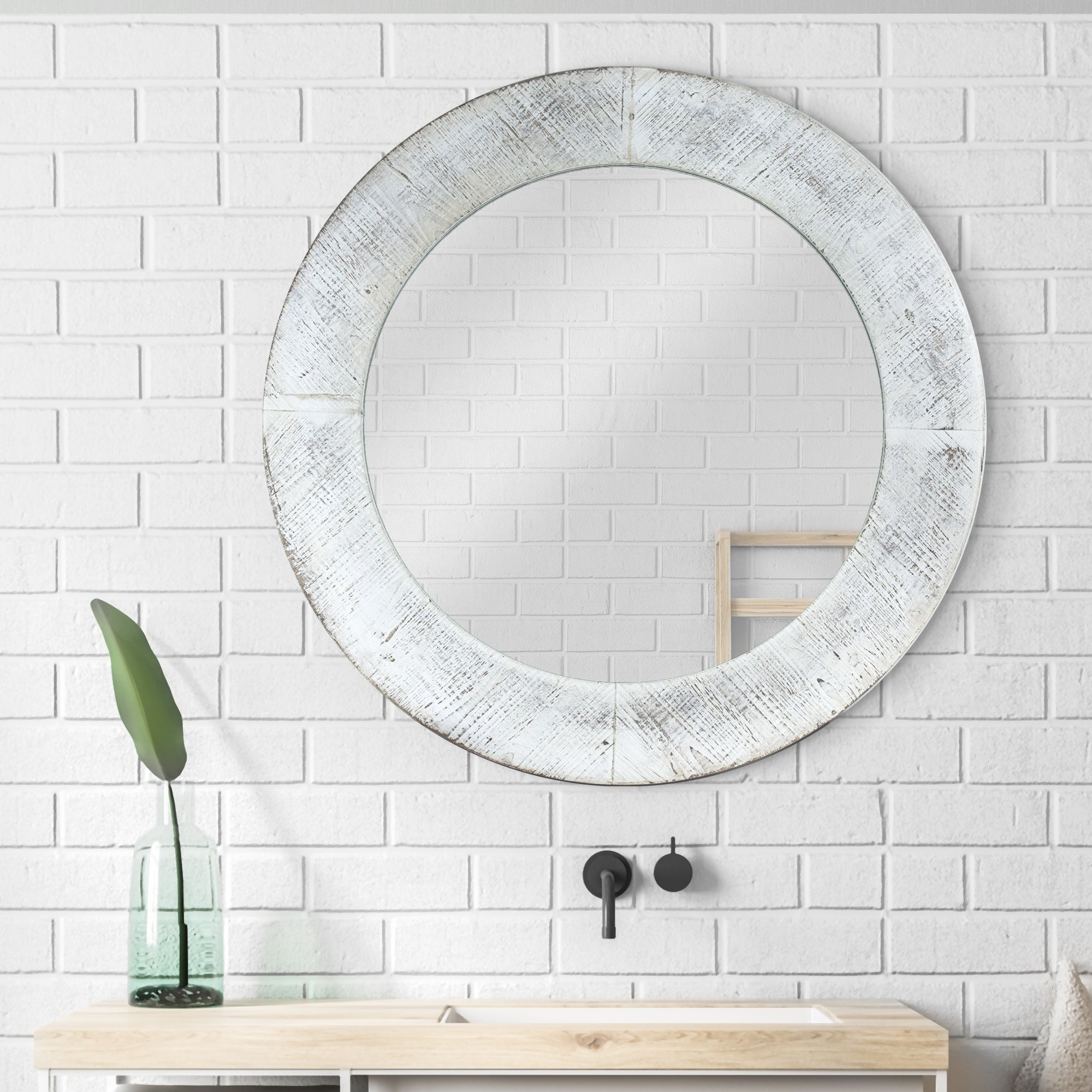 Solid Wood Chalk Paint Distressed Vintage Mirror Oval Wall Mirror Wall Decor Shabby Chic Cottage Chic Mirror Collection Farmhouse Decor Wall Accents Mirrors Home Kitchen
