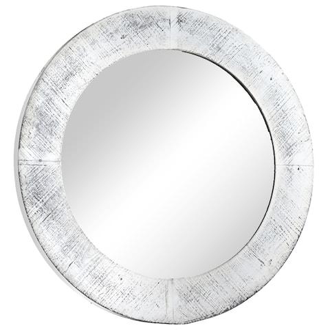 American Art Decor Shabby Chic White Wooden Wall Vanity Farmhouse Mirror - Antique White