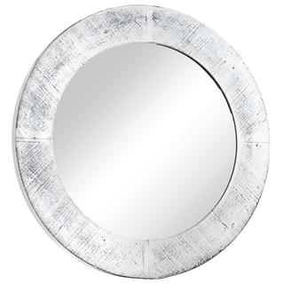 Round Antiqued White Wooden Framed Wall Vanity Mirror - Antique White