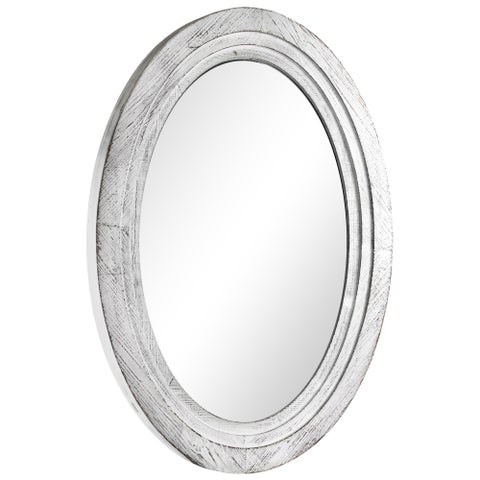 Oval Antiqued White Wooden Framed Wall Vanity Mirror - Antique White