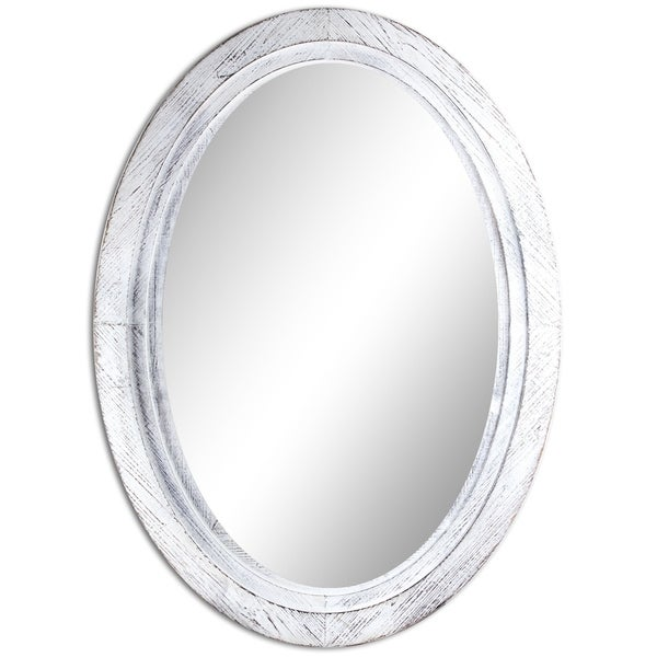 Oval Antiqued White Wooden Framed Wall Vanity Mirror - Antique White - Shop Oval Antiqued White Wooden Framed Wall Vanity Mirror - Antique
