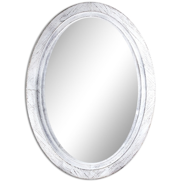 Oval Antiqued White Wooden Framed Wall Vanity Mirror - Antique White - Oval Antiqued White Wooden Framed Wall Vanity Mirror - Antique White
