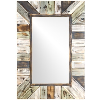 Rustic Wood Plank Rectangular Framed Wall Vanity Mirror - Multi