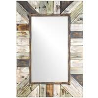 American Art Decor Rustic Wood Plank Wall Vanity Farmhouse Mirror - Multi