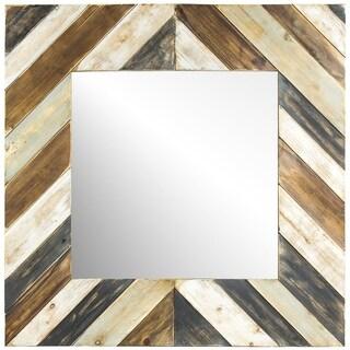 American Art Decor Rustic Wood Plank Farmhouse Wall Vanity Mirror - Multi