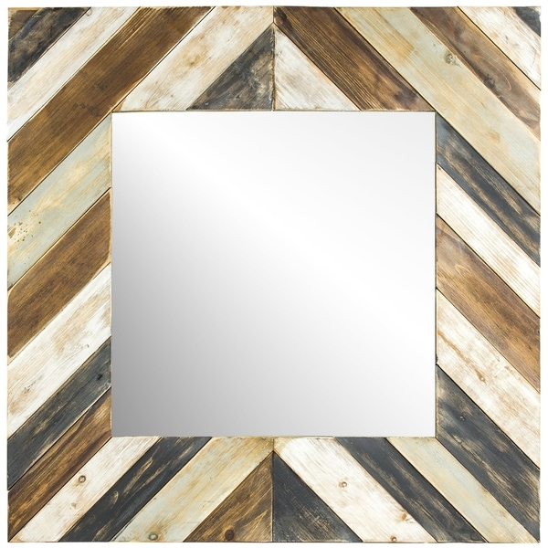 American Art Decor Rustic Wood Plank Farmhouse Wall Vanity Mirror - Multi
