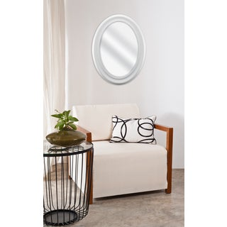 White Beaded Oval Wall Mirror
