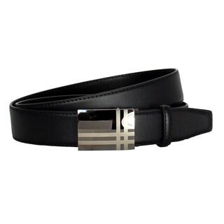 Men's Belt Steel Double Line Magnetic Frame Black Leather