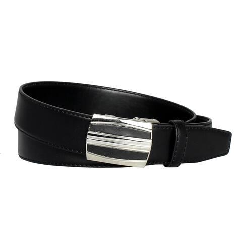 Men's Belt Steel Magnetic Frame Black Leather