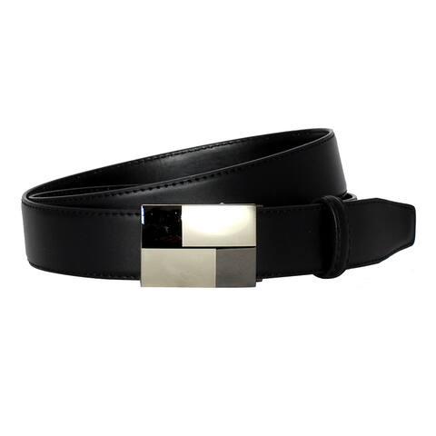 Men's Belt Box Pattern Magnetic Frame Black Leather