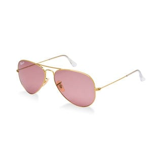 Ray Ban Aviator Polarized RB3025 001/15 58-14 Unisex Gold Frame Pink Legend Lens Sunglasses
