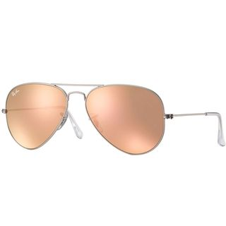 Ray Ban Aviator RB3025 Unisex Silver Frame Copper Flash Lens Sunglasses