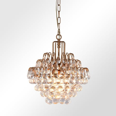 Thayer Antique Brass 3-Light Tear Drop Crystal Chandelier by Kosas Home