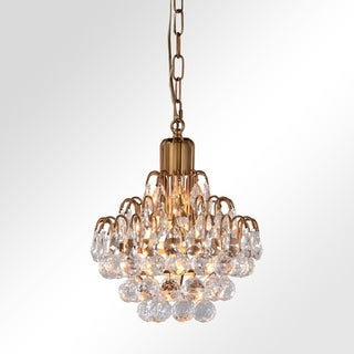 Thayer Antique Brass 1-Light Tear Drop Crystal Chandelier by Kosas Home