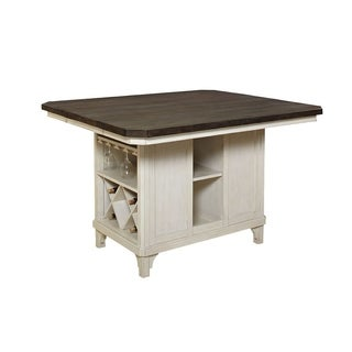 Madeline Brown/Whitewashed Solid Wood Kitchen Island
