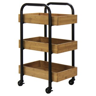 Oceanstar Portable Storage Cart with 3 Easy Removable Bamboo Trays