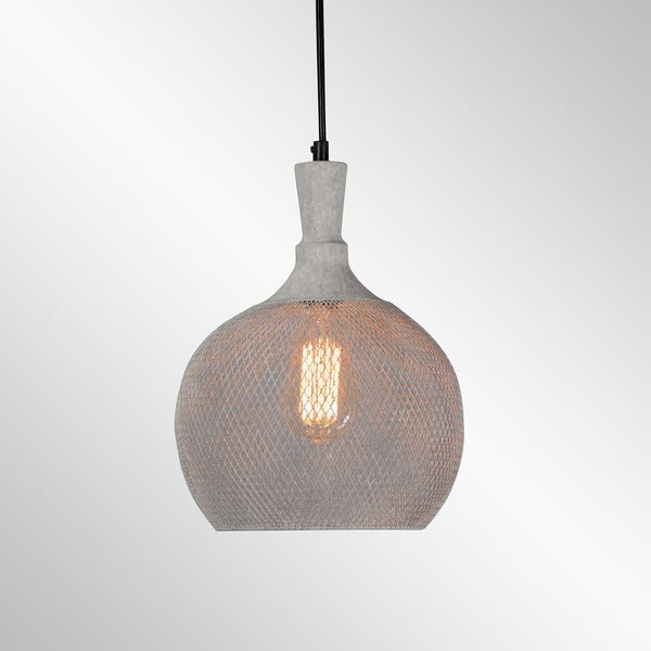 Osiris Rustic Grey Iron Mesh Medium Pendant by Kosas Home