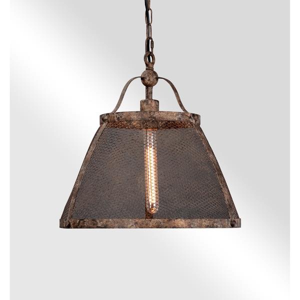 Quaid Distressed Rustic Copper Iron Mesh Pendant by Kosas Home