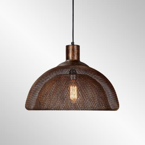 Polaris Distressed Rustic Copper Iron Mesh Large Pendant by Kosas Home