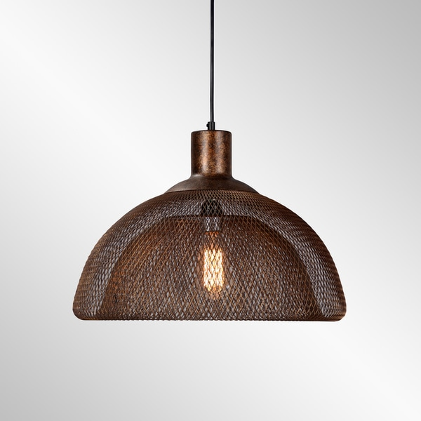 Polaris Distressed Rustic Bronze Iron Mesh Large Pendant by Kosas Home - Rustic Copper - 12.5H x 18W x18D