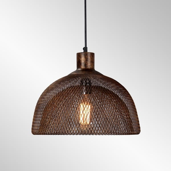 Polaris Distressed Iron Mesh Medium Pendant by Kosas Home - Rustic Copper - 10H x14W x 14D