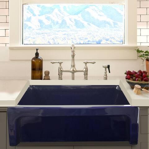 Highpoint Collection Cobalt Blue Reversible Farmhouse Fireclay Sink