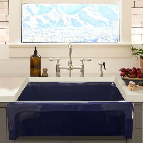 Highpoint Collection Cobalt Blue Reversible Farmhouse Fireclay Sink
