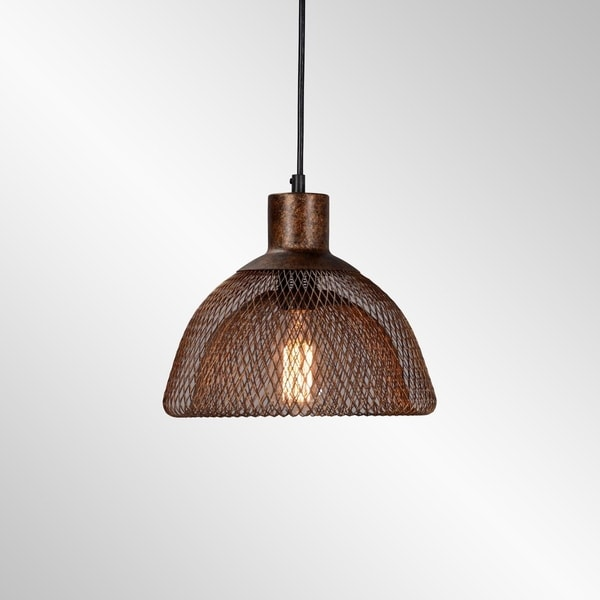Polaris Distressed Rustic Copper Iron Mesh Small Pendant by Kosas Home. Opens flyout.