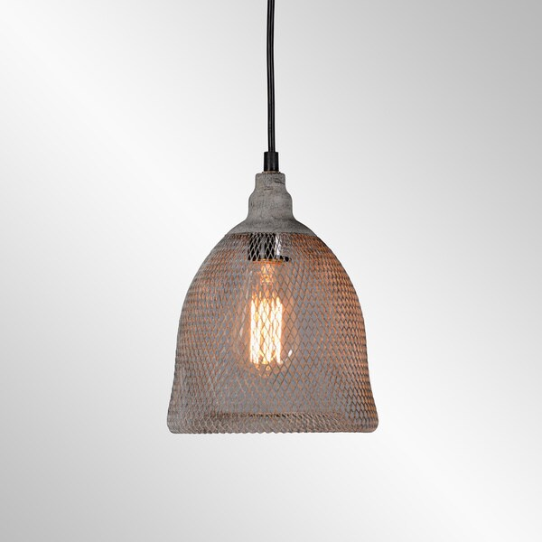 Vancouver Distressed Grey Iron Mesh Small Pendant by Kosas Home