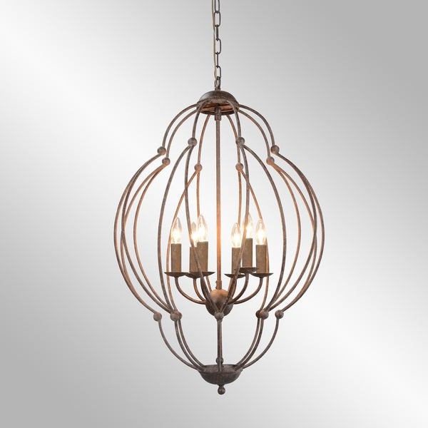 Rosario Rustic Brown 6-Light Distressed Pendant by Kosas Home